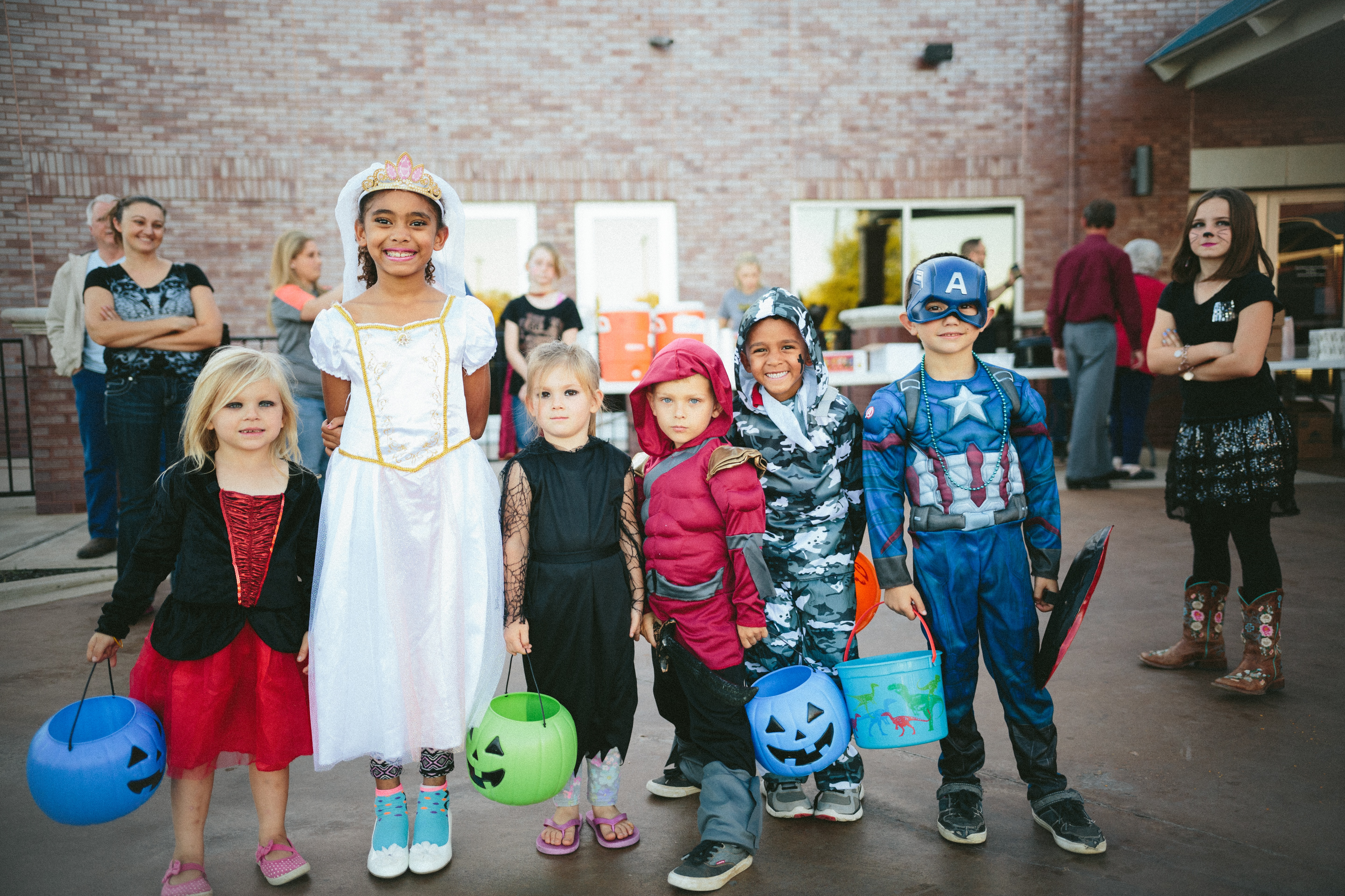 Group of Children Dressed In Halloween Costumes