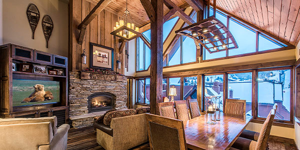 Living Room with Fireplace Looking At Ski Slopes