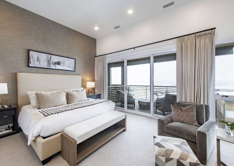 Cream Colored Bedroom atApex Residences in Canyons Village in Park City Utah