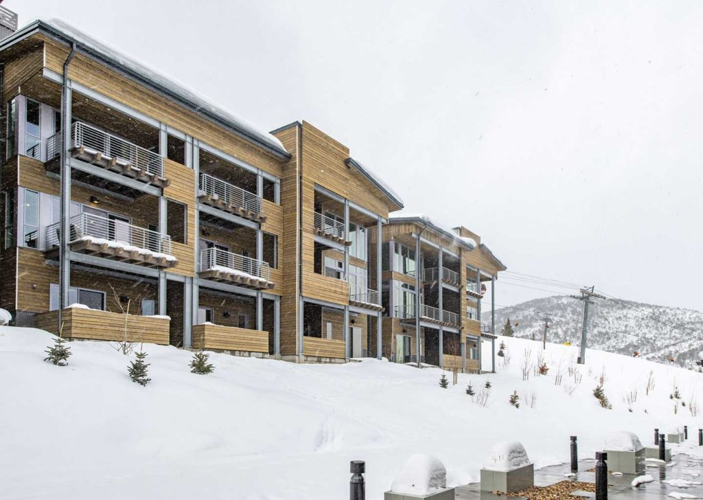 Exterior of Apex Residences Covered in Snow