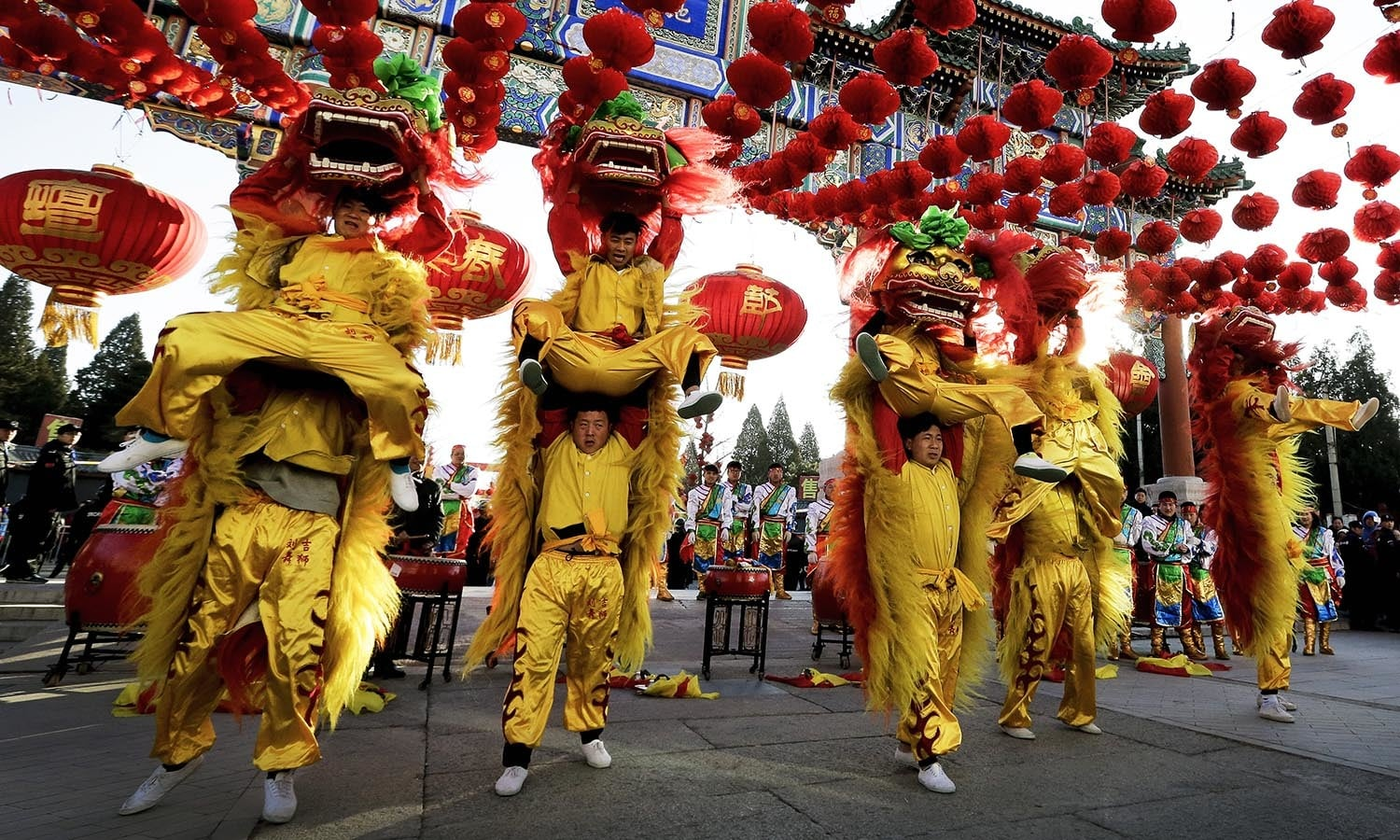 Lion Dance Street Celebration for Chinese New Year