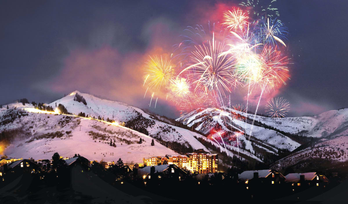 Fireworks at Canyons Village Resort Celebrating Snowfest in Park City, Utah
