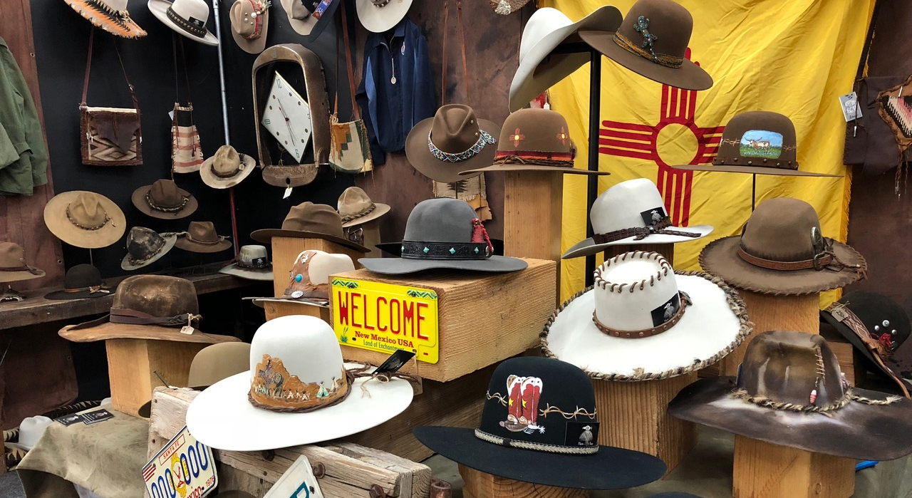 Hats Sold at a Street Booth at the El Museo Winter Market in Santa Fe, New Mexico