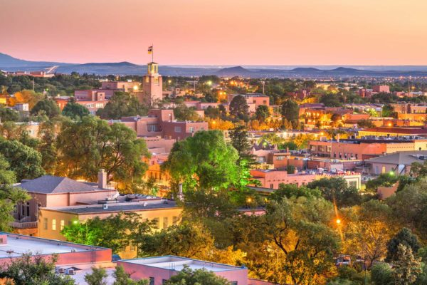 Santa Fe, New Mexico, USA downtown skyline at dusk