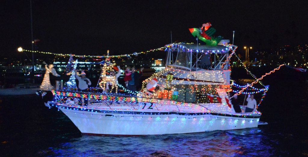 Boat Light With Christmas Decorations for Deck the Bows Light Parade in San Diego