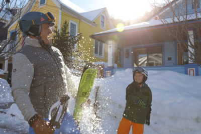 snowball fight between father and son