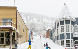Walking Traffic on a Snowy Day on Main Street Park City, Utah