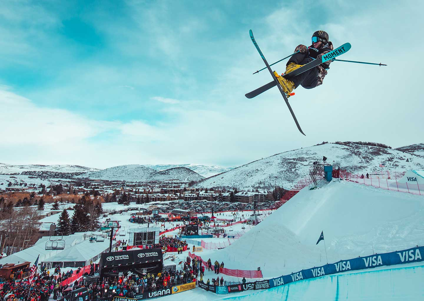 Freestyle Skier Flying Through The Air at Park City Mountain Resort