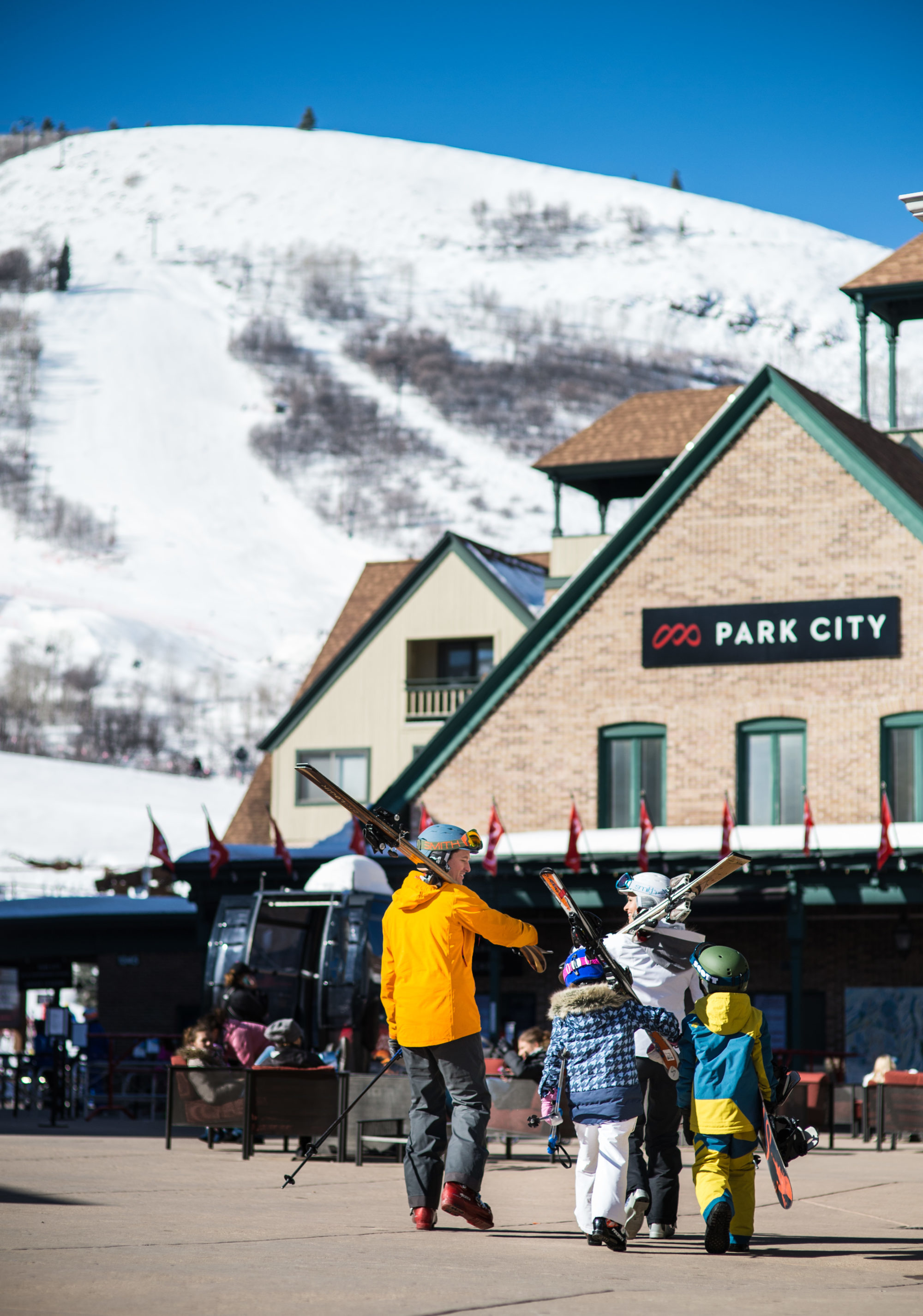 Family With Ski Gear at Park City Mountain Base Area