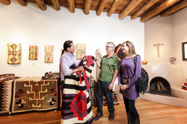 Couple Shopping for Rugs in Santa Fe