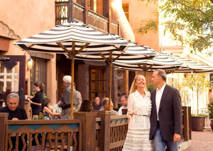 Couple Walking Through Downtown Santa Fe New Mexico