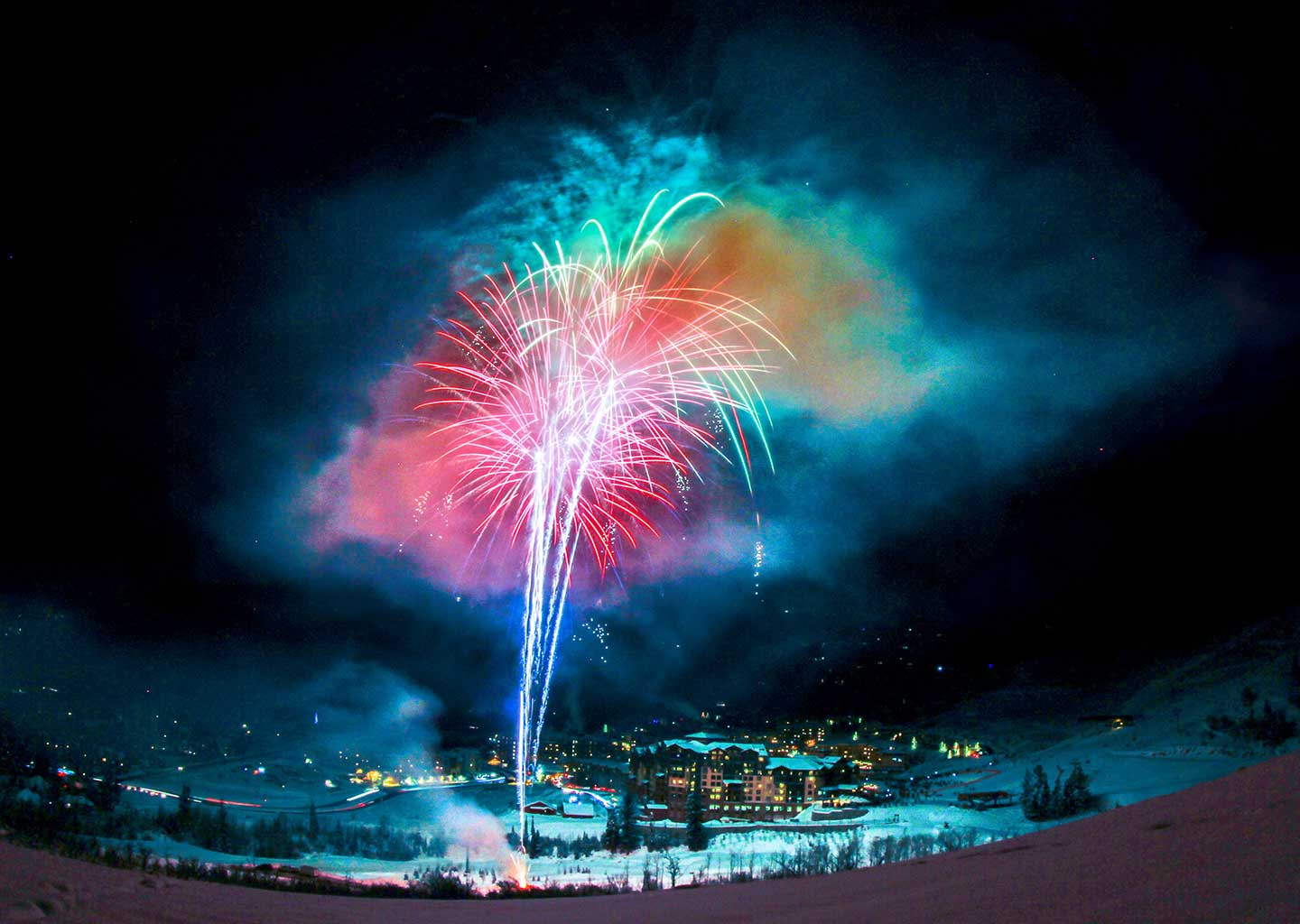 Firework Show During Winter at Canyons Village Park City Utah