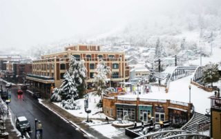Early Autumn snow storm in a street shot of Park City Utah