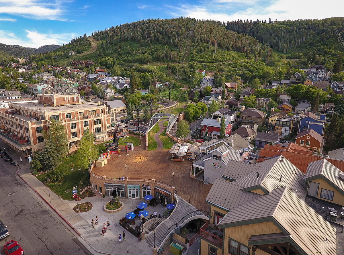 Aerial of Main Street Park City in Spring
