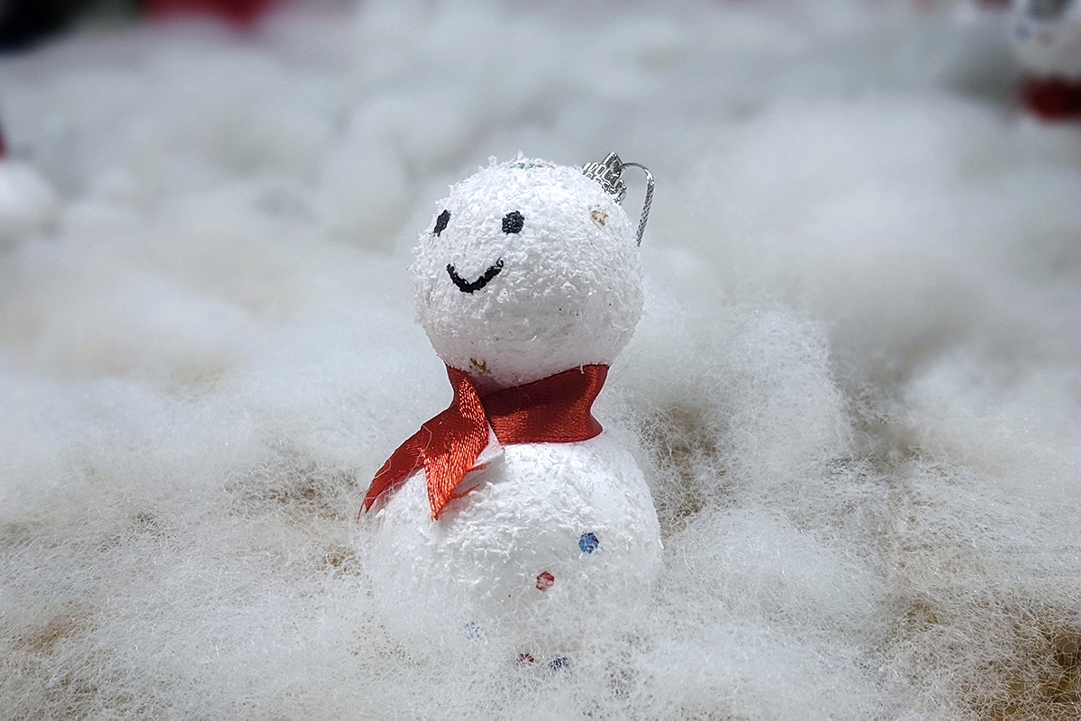 DIY craft snowman with red scarf