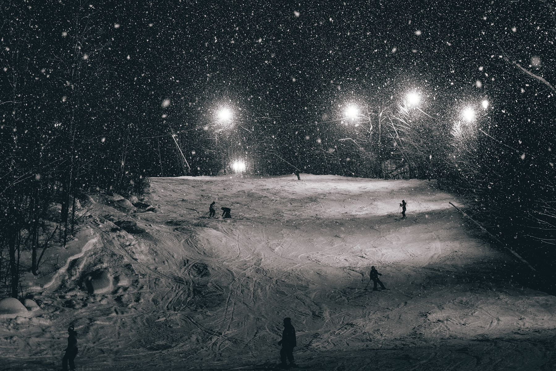 Night Skiing with fresh snow