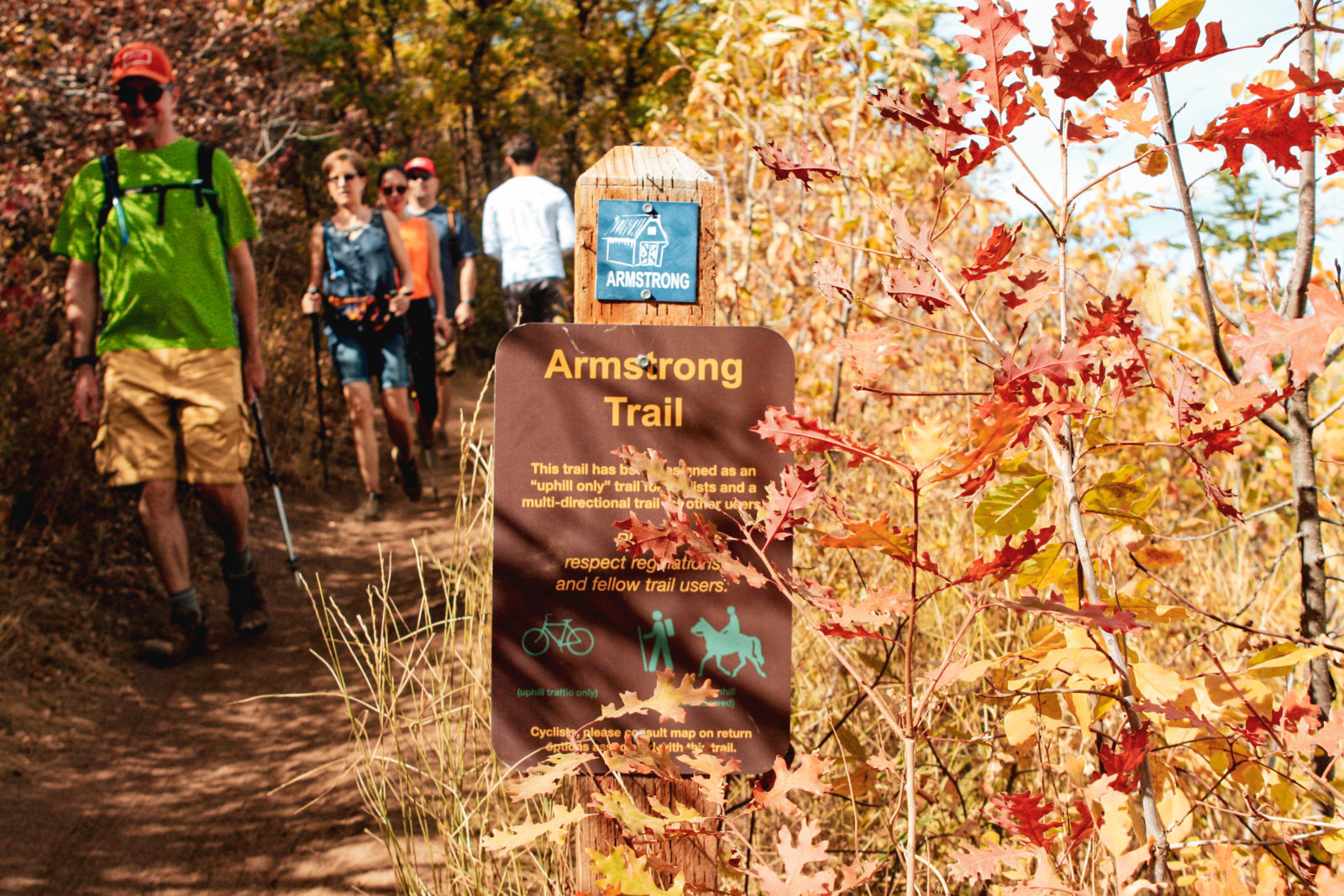hiking armstrong trail in park city during fall