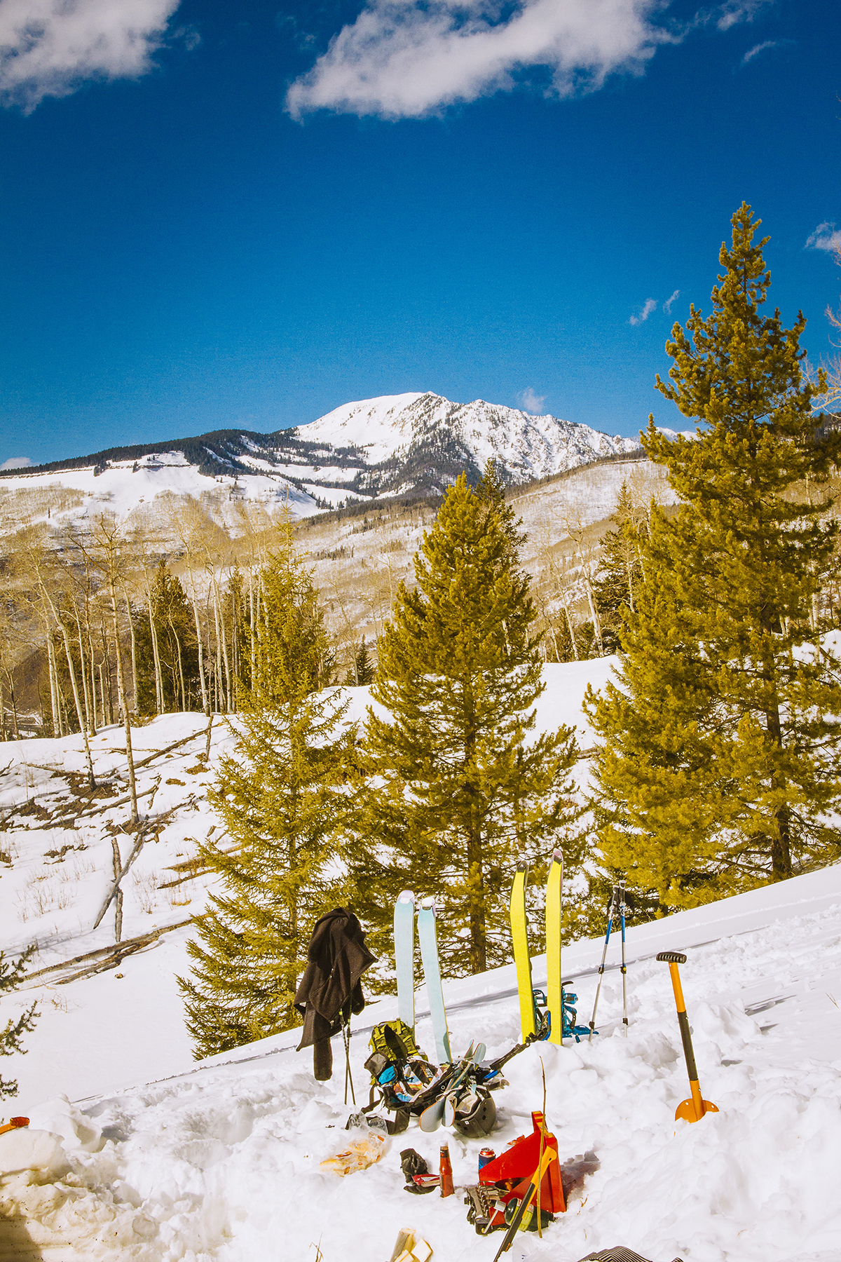 A Bluebird Day in Park City with Ski Gear Stuck into the Snow