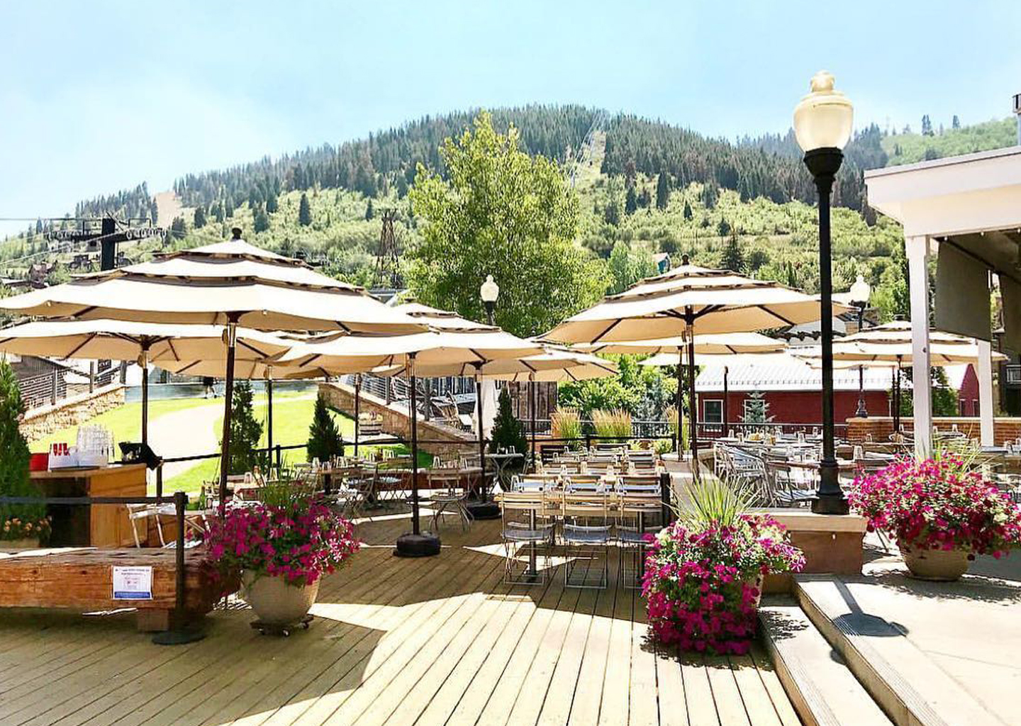 The Outdoor Patio at Bridge Cafe During Summer in Park City, Overlooking The Lifts