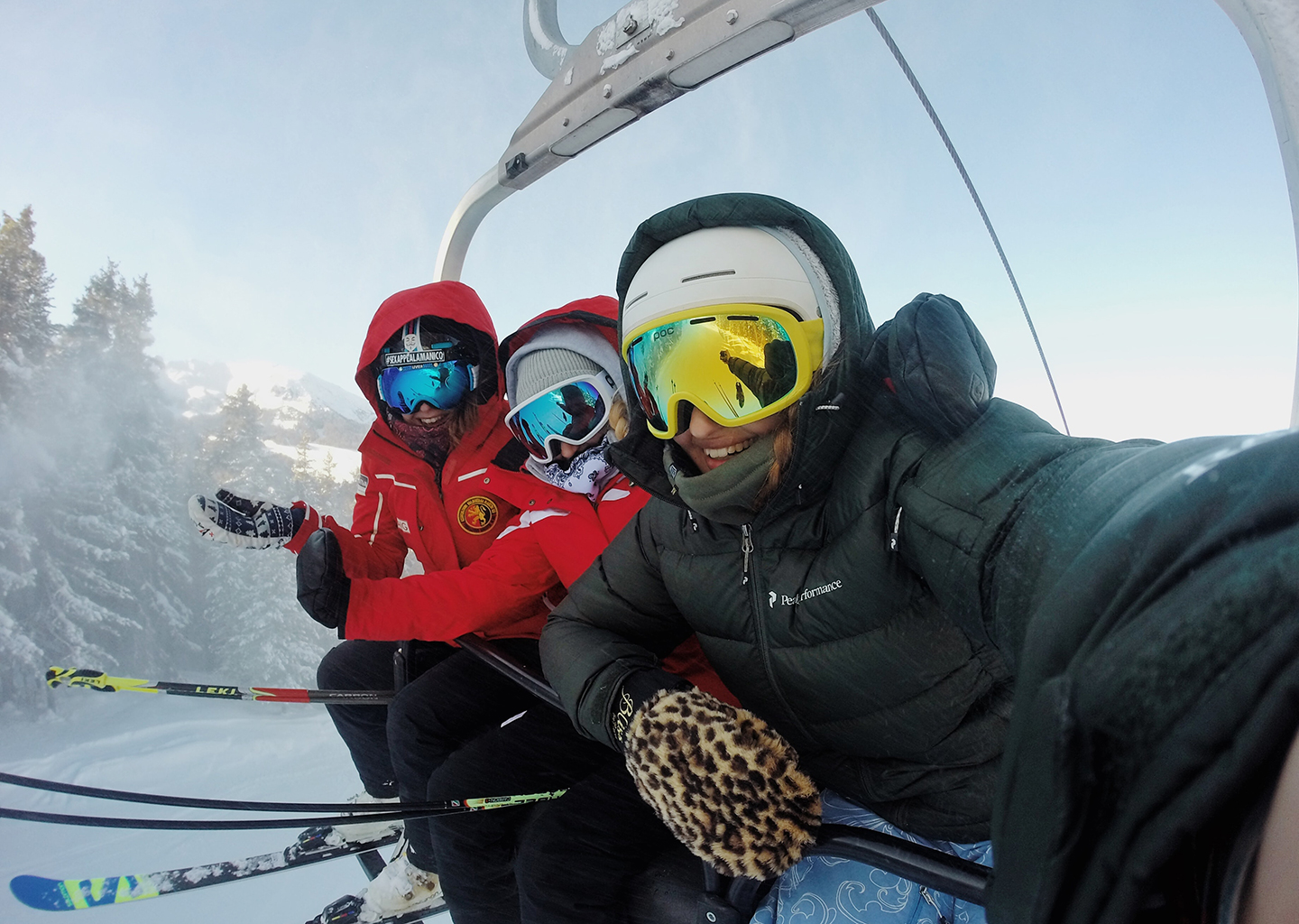 Friends Pose for a Selfie on a Park City Chairlift