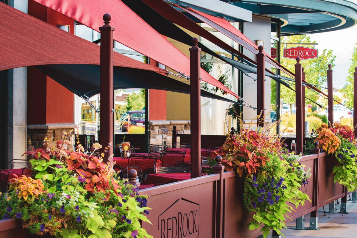Red Rock Junction's Flowery Outdoor Patio Area in Park City