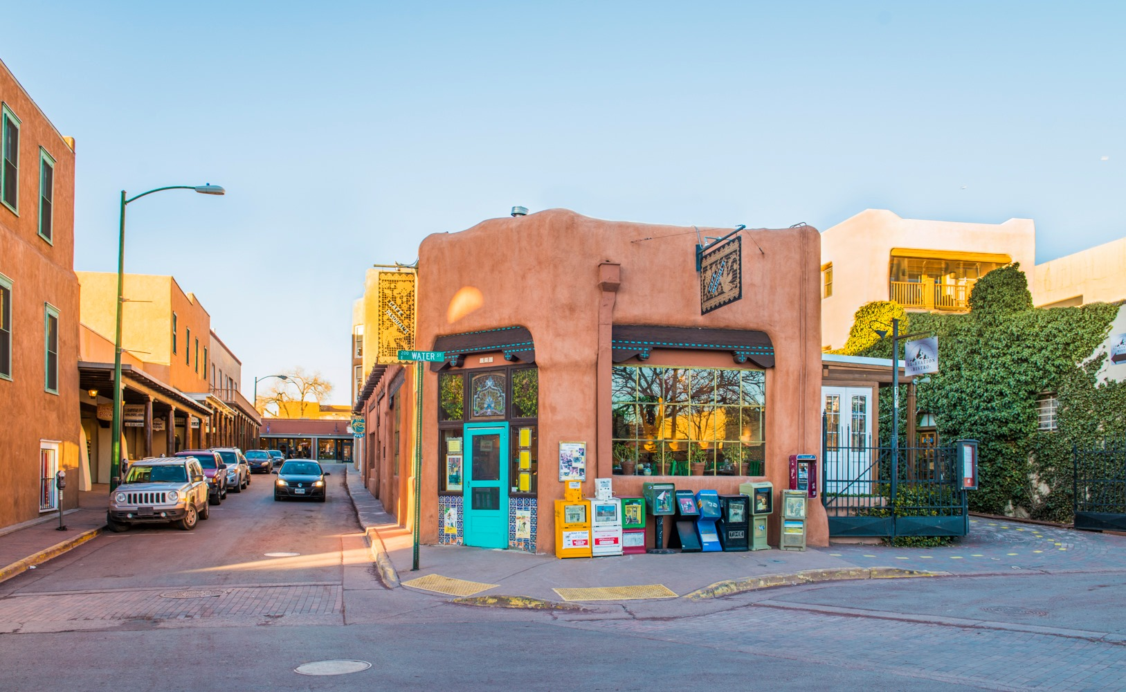 Exterior building image of Cafe Pasqual's in the historic downtown of Santa Fe New Mexico