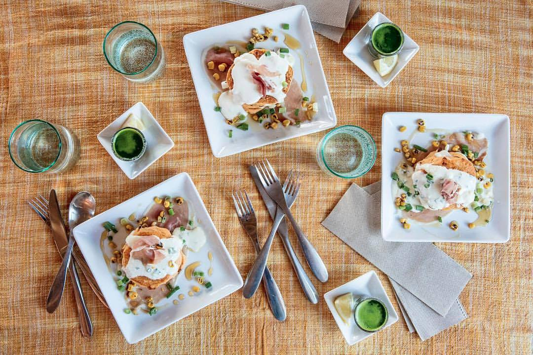 Flat lay of breakfast dishes at Modern General cafe in Santa Fe, New Me