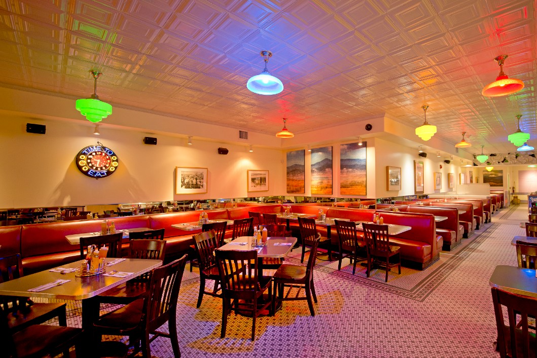 Interior dining room of The Plaza Cafe, serving diner style breakfast in Santa Fe for over 100 years