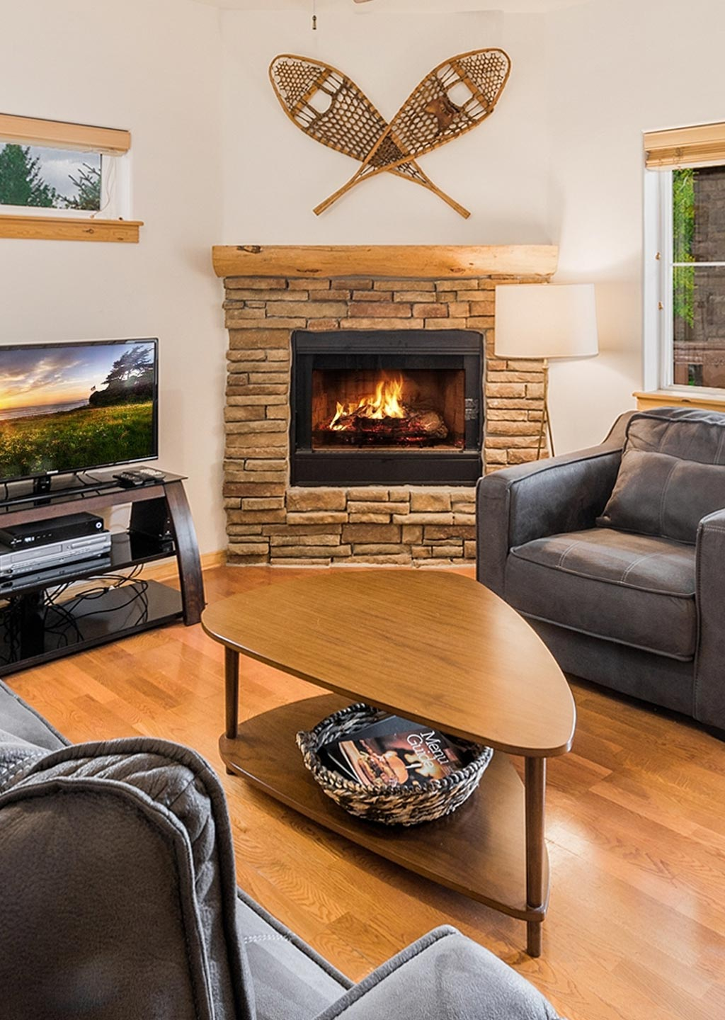 Warm living room with roaring fire at Bear Hollow Village in Park City Utah