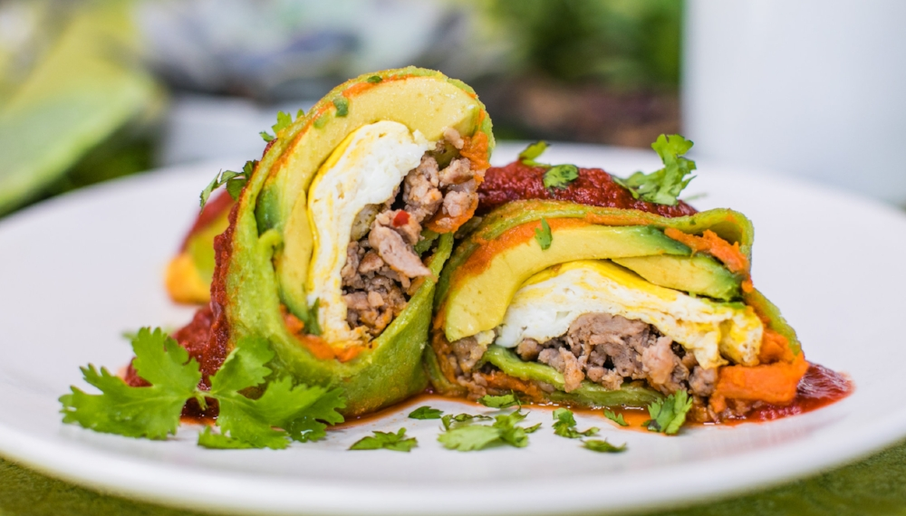 Sumptuous Gluten Free Burrito with avocado and eggs at Sweetwater Harvest Kitchen in Santa Fe, New Mexico