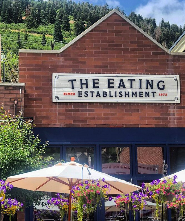 The Umbrella-Lined Patio of Park City's The Eating Establishment on Main Street