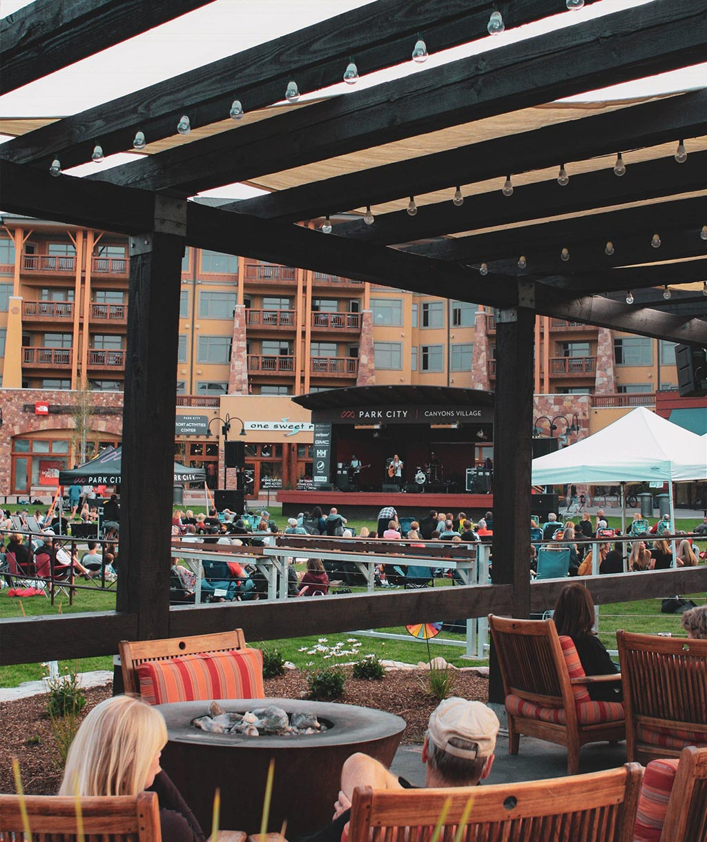 concert goers at canyons village outdoor concert series in park city utah