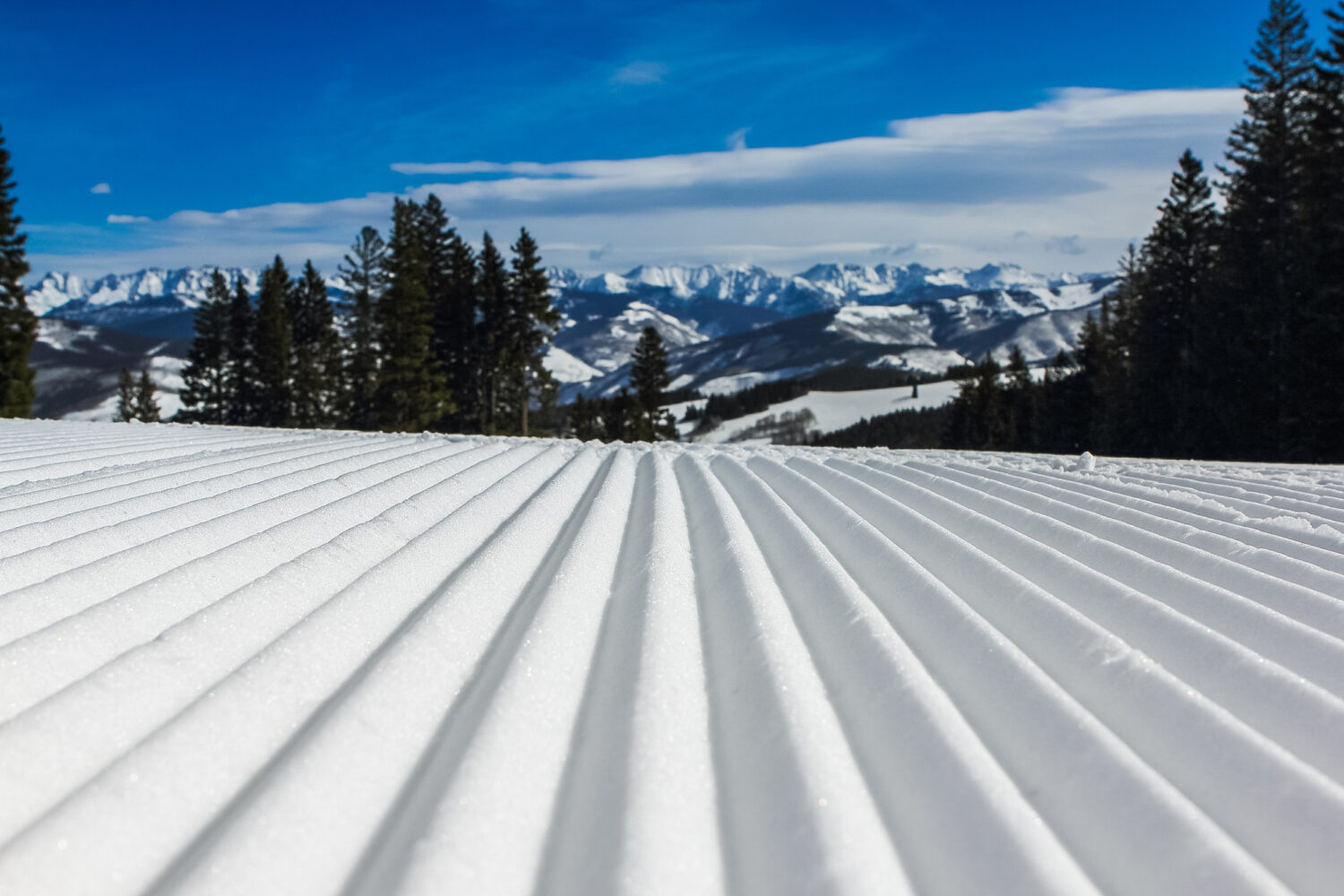 Corduroy-Groomed Slopes in Park City on a Bright Bluebird Day