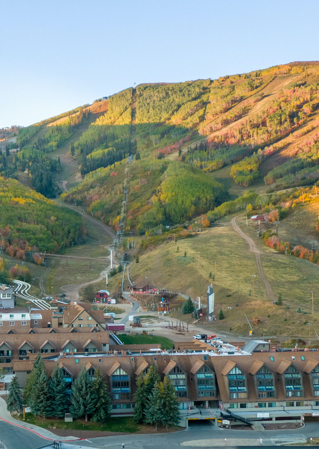 Aerial View of Park City Base Area in Park City During Autumn