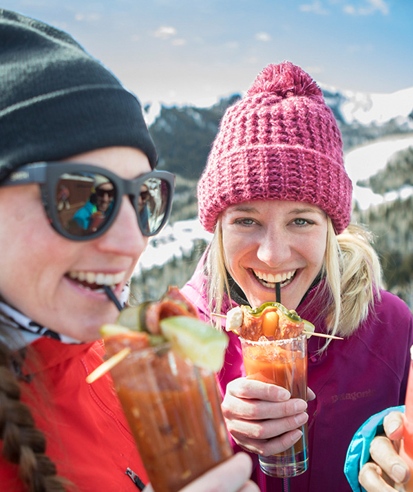 A Group of Ladies Enjoying Bloody Marys on the Ski Slopes in Park City