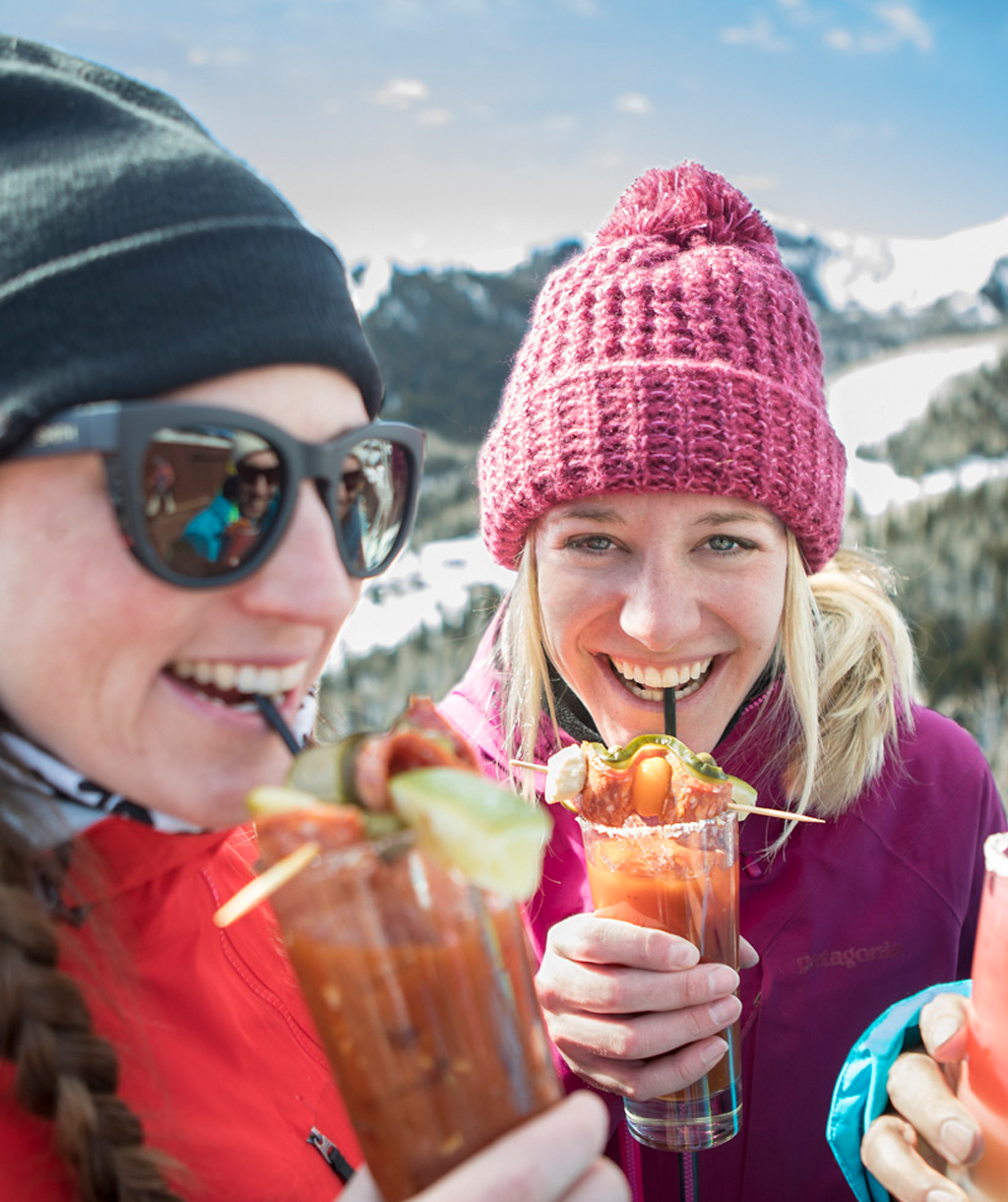 Happy Friends Drinking Bloody Marys in Park City
