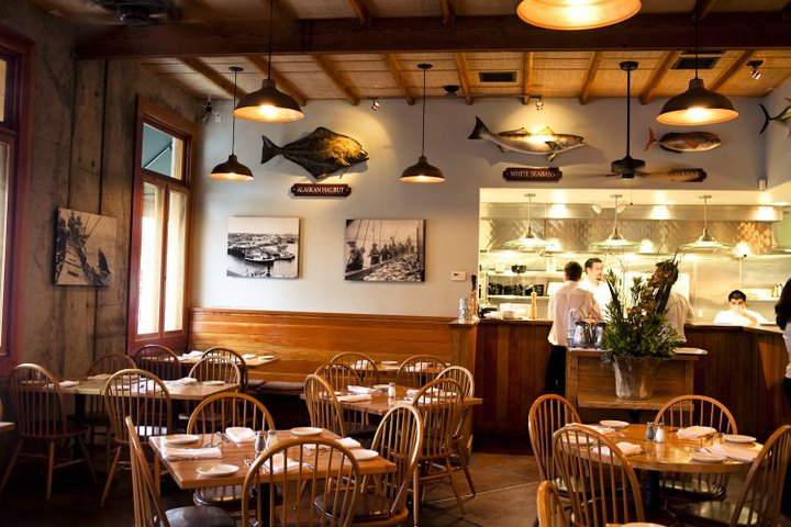 Interior dining room at The Fishery in San Diego