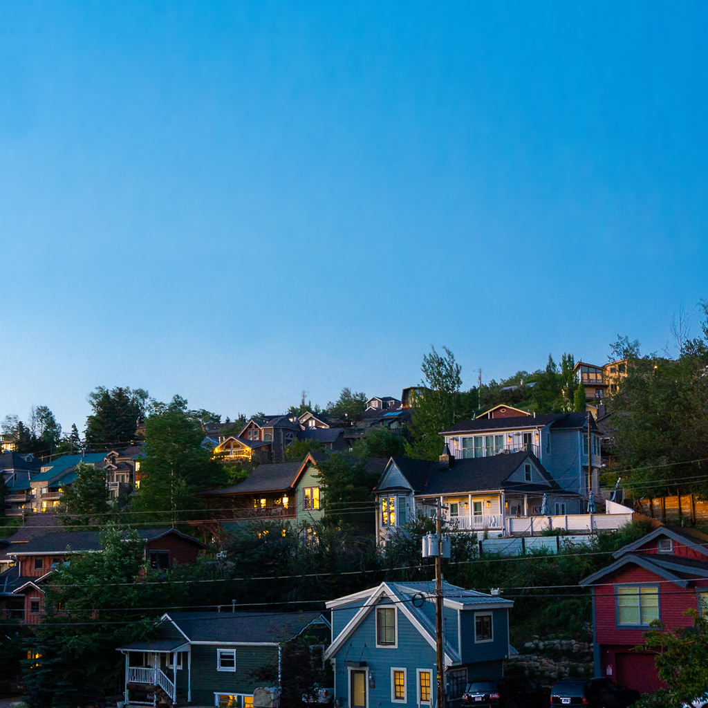 Old Town Park City Lodging Under an Evening Summer Sky
