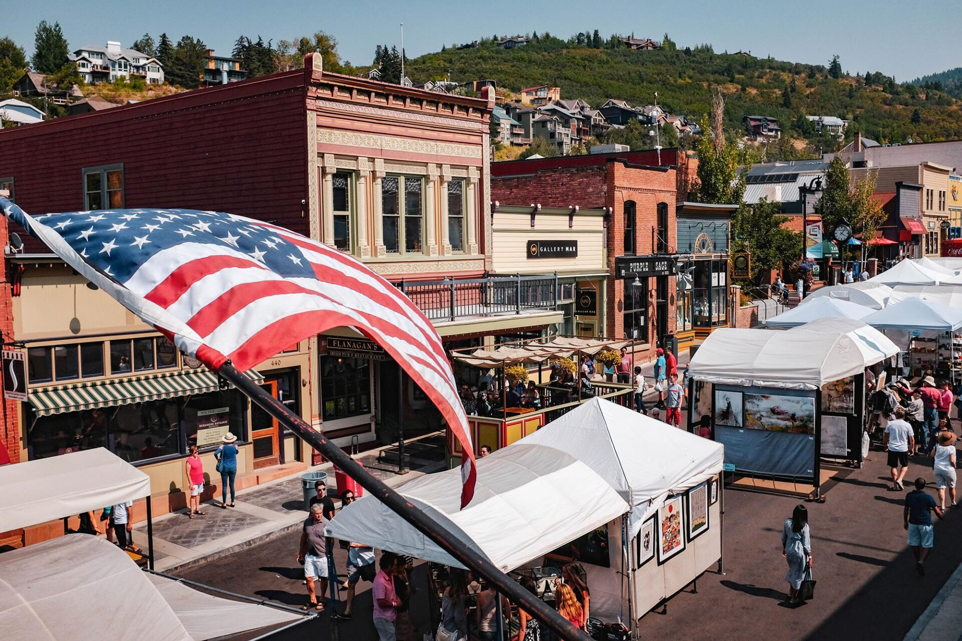 American Flag Waves Over Main Street Park City
