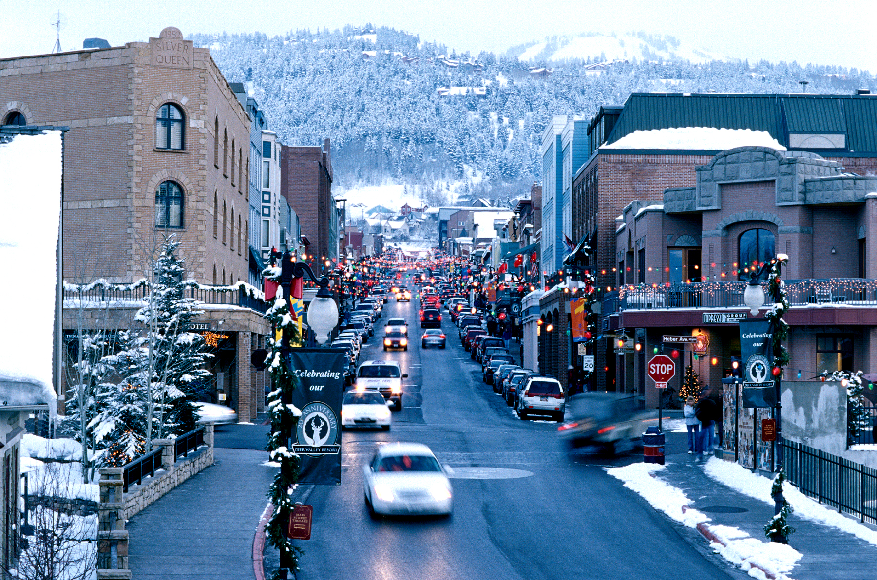 Looking up snowy Historic Main Street Park City During Sundance Film Festival
