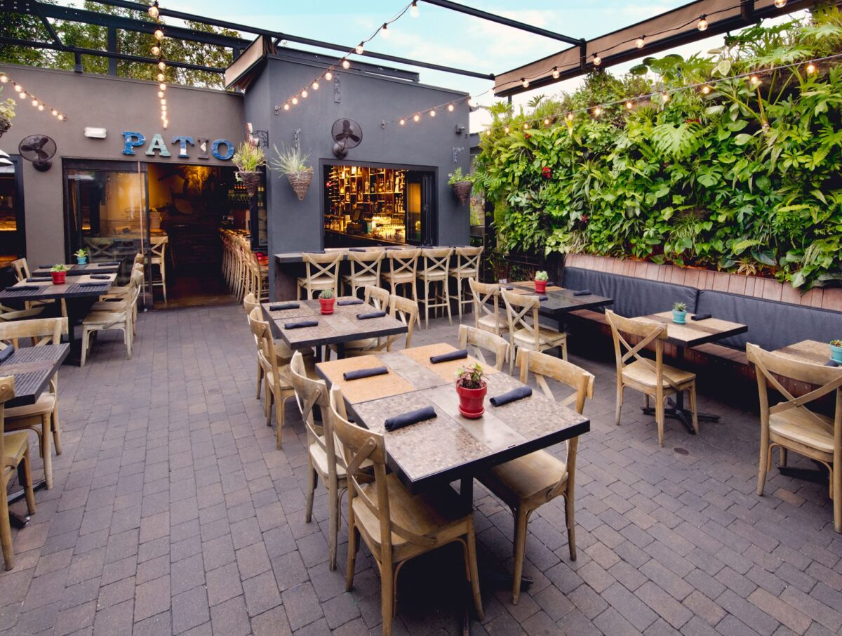 Gorgeous patio at early evening at Lamont in San Diego