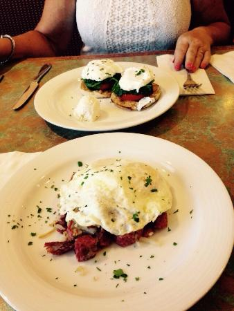 Eggs Benedict Breakfast meal in The Saveur Bistro in Santa Fe, New Mexico