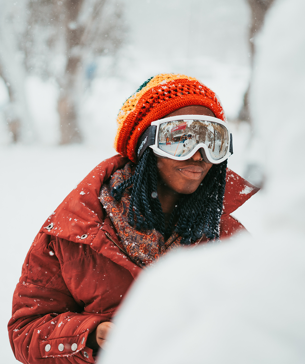 Woman Wearing Ski Goggles Enjoying the Fresh Snow in Park City