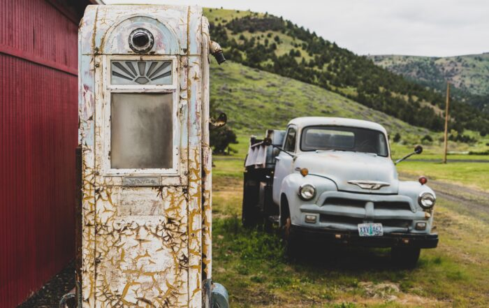 Baby Blue Vintage Pick-up Truck Parked Outside in the Mountains