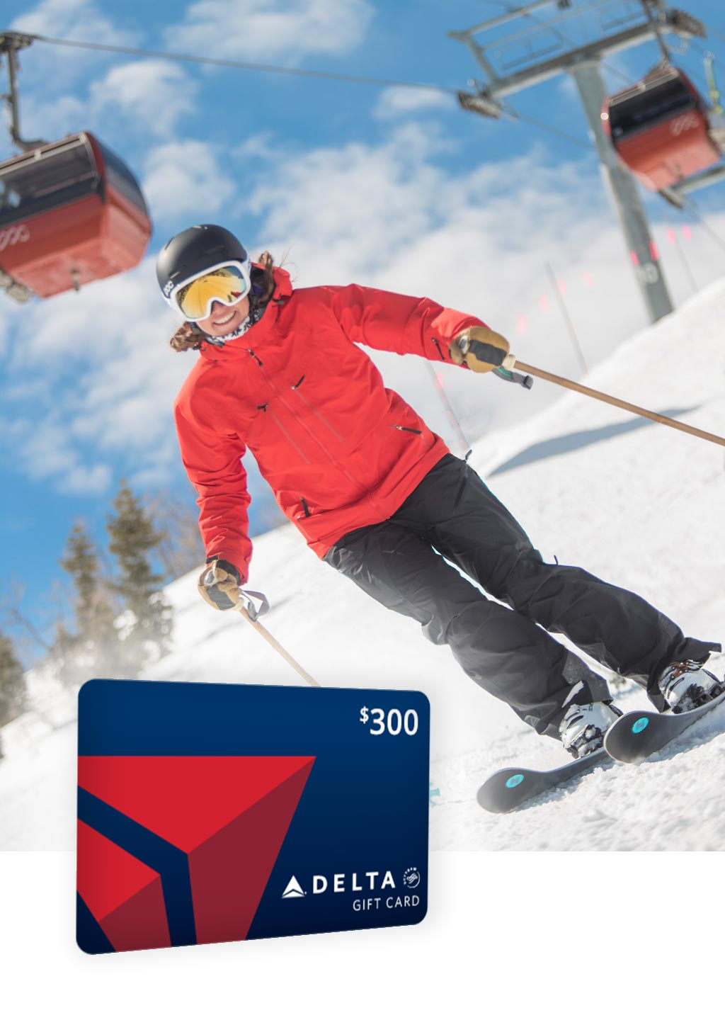 Delta Promo Image with Gift Card Overlaying Image of Female Skiier on Slopes in Park City