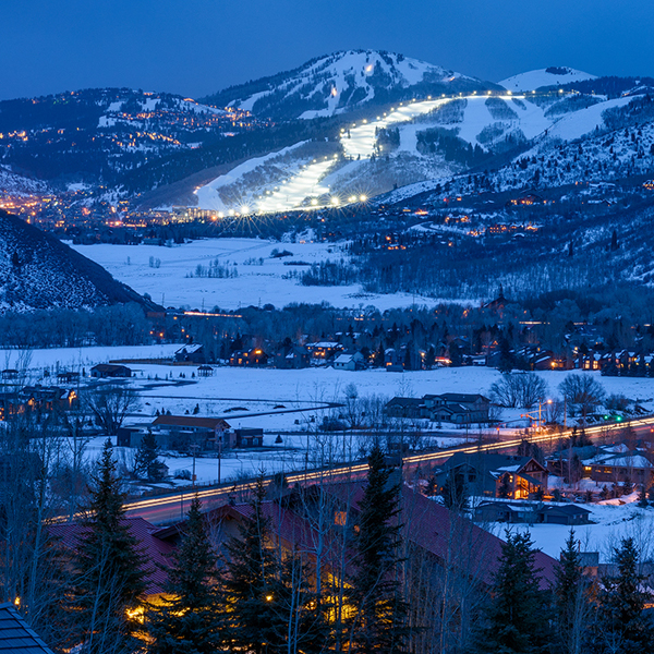 Winter View of Deer Valley from Kimball Junction at Dusk