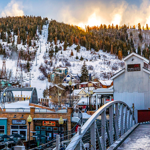 Winter View of Town Lift From Lowe Main Street with Sunrise Peeking Over the Mountains