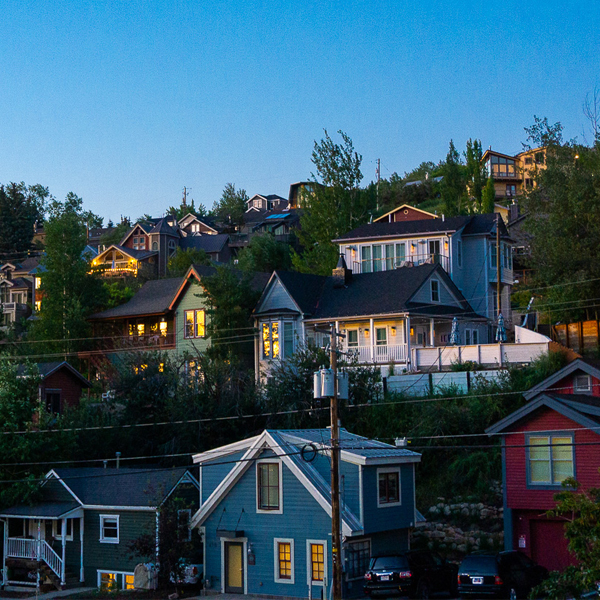 Colorful Mining Homes Perched on a Hillside at Twilight in Park City, Utah