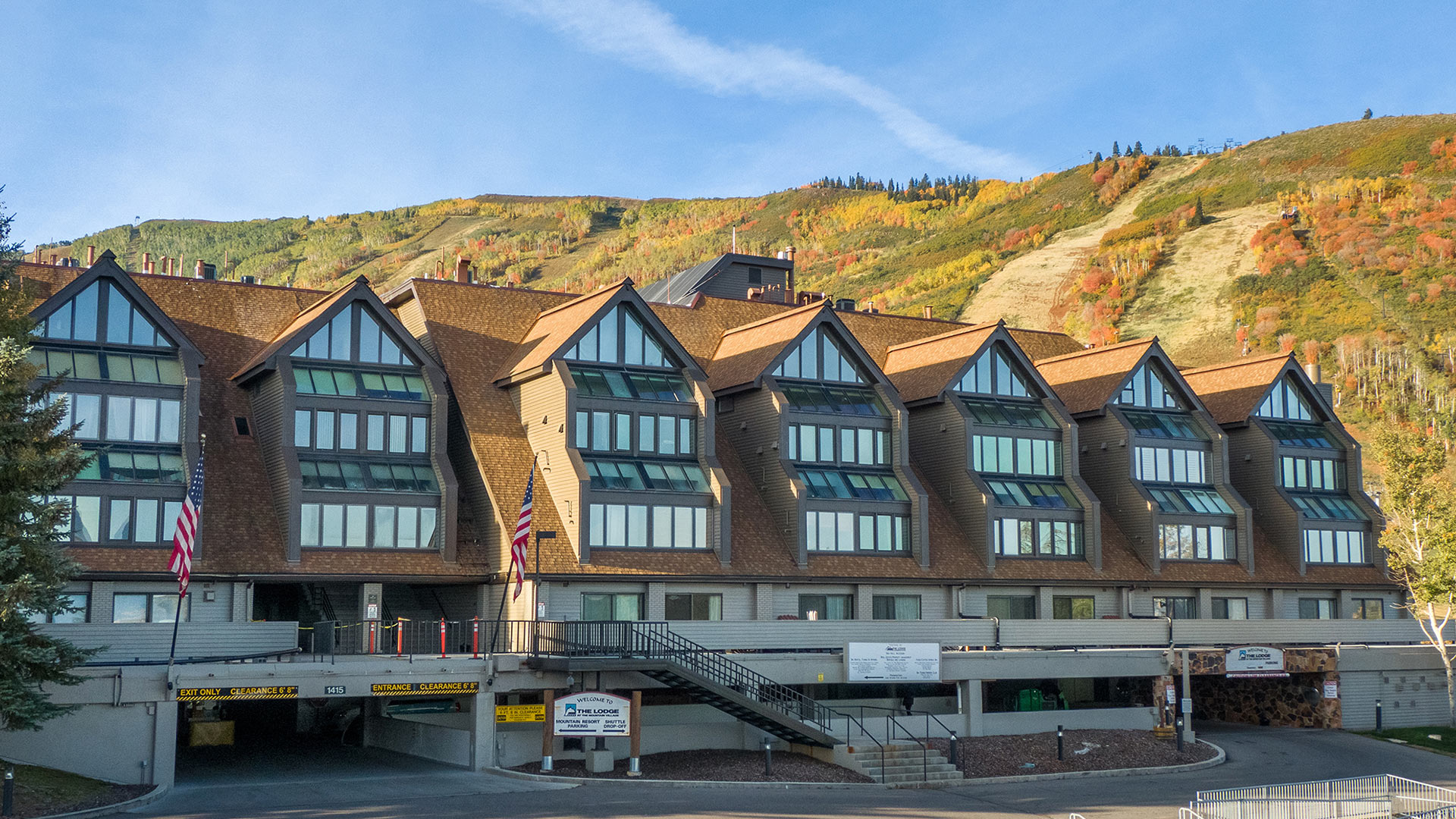 Front View of The Lodge at the Mountain Village on a Crisp Autumn Day in Park City, Utah