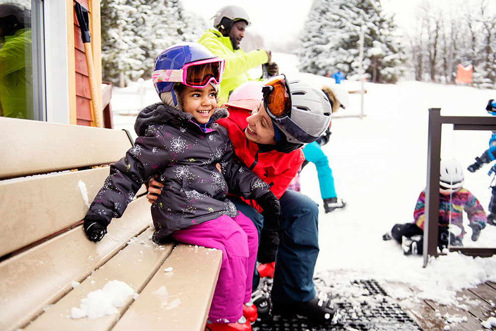 A Mother and Daughter Getting Ready to Hit the Slopes in Park City, Utah